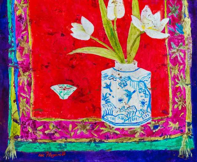 , 'Blue Birds and White Tulips,' 2018, Catto Gallery