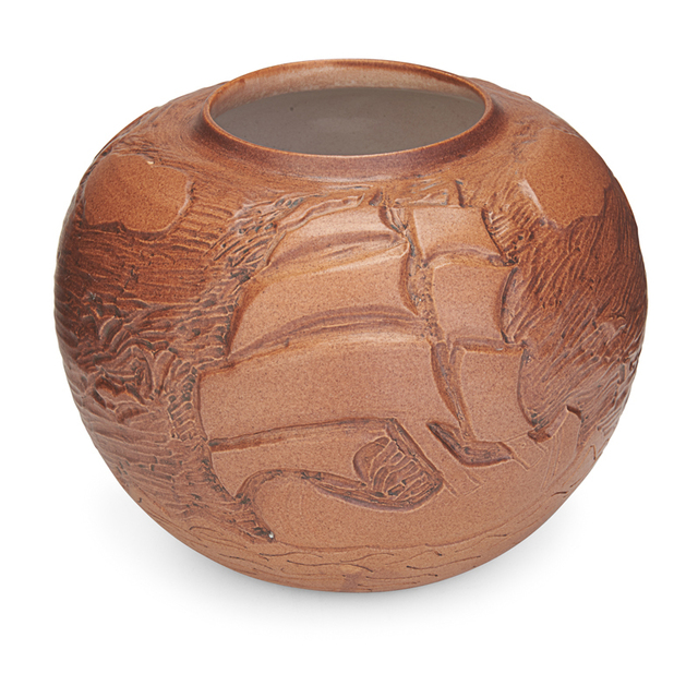 H. Rodningen, 'North Dakota School Of Mines, Vase With Tall Ships,  Matte Brown Glaze, Grand Forks, ND', 1958, Design/Decorative Art, Rago/Wright