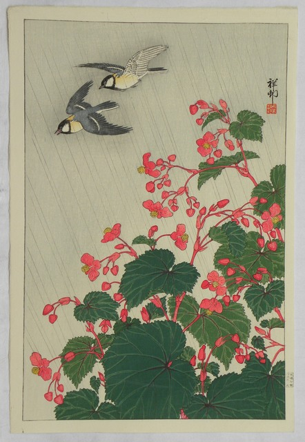 , 'Two Manchurian Great Tits in Flight Above Begonia,' ca. 1929, Scholten Japanese Art