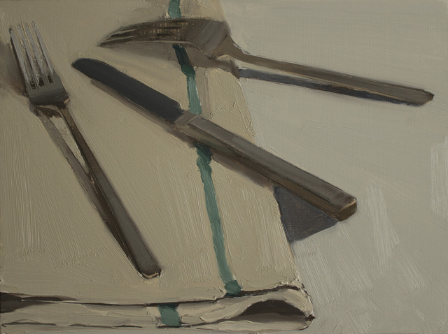 , 'Two Forks and Knife on Tea Towel,' , March