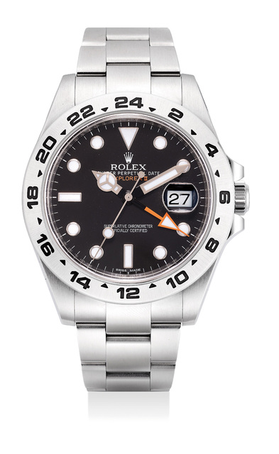 Rolex, 'A rare stainless steel wristwatch with sweep center seconds, 24-hour indication, date, bracelet, guarantee and box', Circa 2010, Phillips