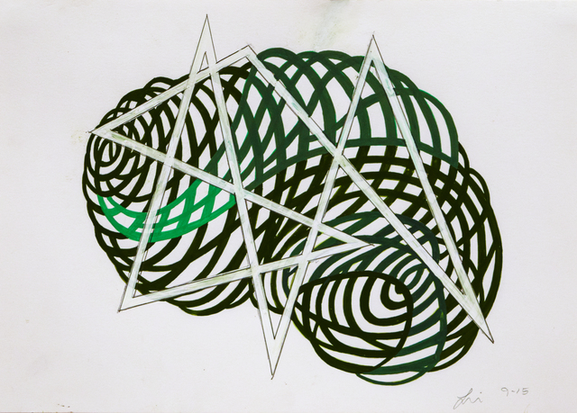 , 'Gouache Wall Drawing (green + angle),' 2017, Robischon Gallery