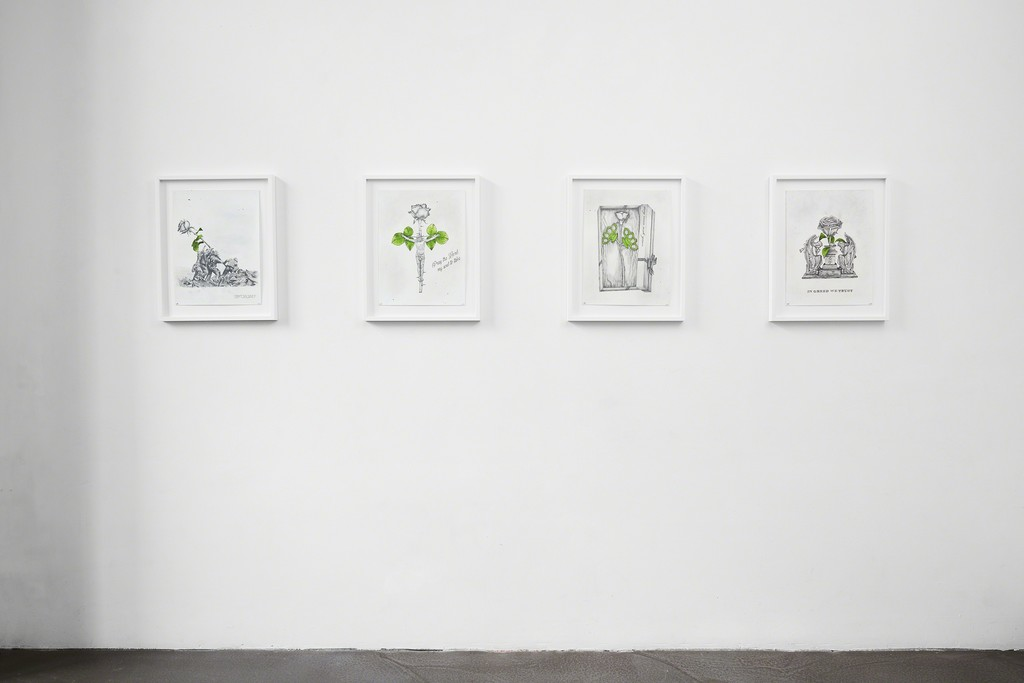 Ludo, 'The Ten Commitments' installation view at The Garage, Amsterdam. From left, 'Bring Dialogues', 'Pray the Lord', 'Wish You Were Here' and 'In Greed We Trust'.