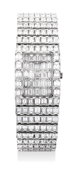 Vacheron & Constantin, 'A magnificent, lavish and exceptionally rare white gold with baguette diamond-set bracelet watch with baguette diamond dial', 1990, Phillips