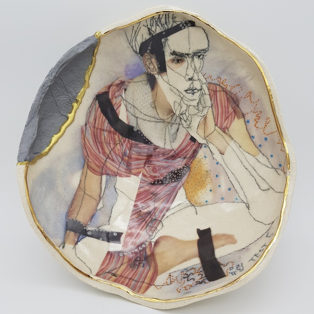 Yurim Gough, 'MILES AWAY FROM PRESENT ', 2019, Sculpture, Life drawing on stoneware with ceramic pencil, transfers, gold, 3D-printed part, Paradigm Gallery + Studio