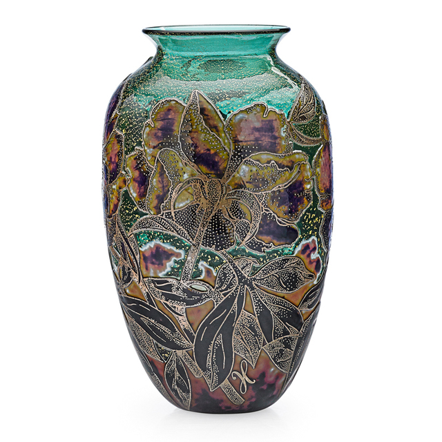 Jonathan Harris, 'Vase With Roses, England', 2011/12, Design/Decorative Art, Acid-Etched, Enameled,And Fire-Polished Cameo Glass, Foil Inclusions, Rago/Wright