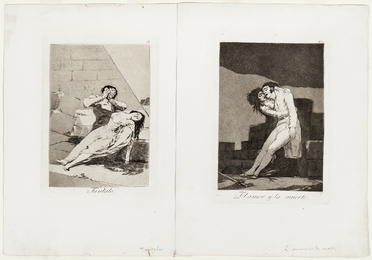 Two Plates from Los Caprichos, 1799; Tantalo, plate 9, and El amor y la muerte, plate 10