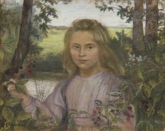 Jeune  lle dans un jardin