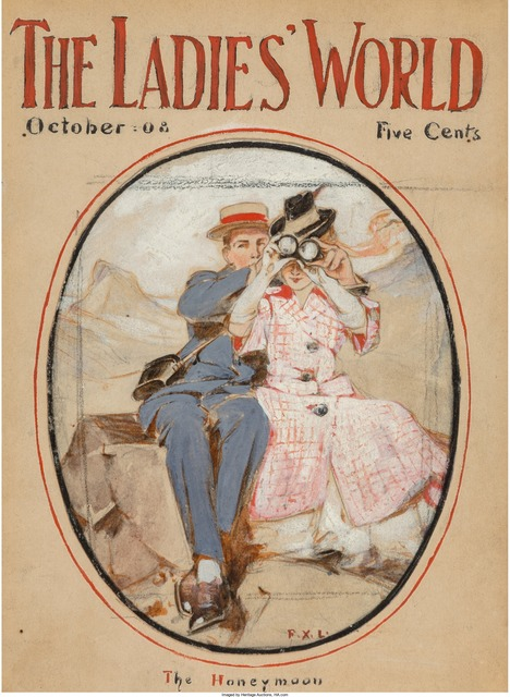 Francis Xavier Leyendecker, 'The Honeymoon, The Ladies World Magazine Cover, October 1908  ', 1908, Painting, Mixed Media on Board with Collage, The Illustrated Gallery