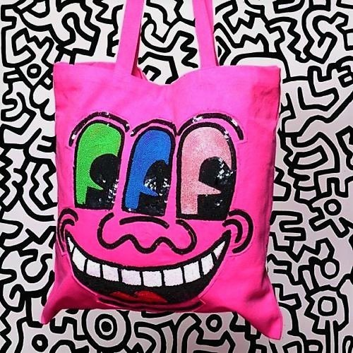 """, ' """"""""3-EYED FACE"""" (pink), 2010, House of Patricia Field's, Tote Bag, Hand Crafted Sequin/Beaded, RARE,' 2010, VINCE fine arts/ephemera"""