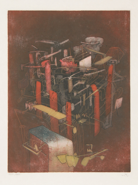 Roberto Matta, 'Etre atout from Hom'mere III - L'Ergonaute', 1976-1977, Print, Etching and aquatint on Japon Paper, signed and numbered in pencil, RoGallery