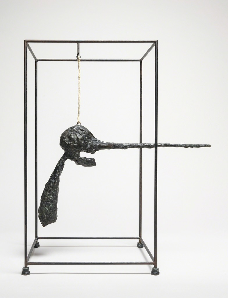 Movable metal sculpture made of two huge old iron hooks connected through a link Offers Considered Great Paint and Color.
