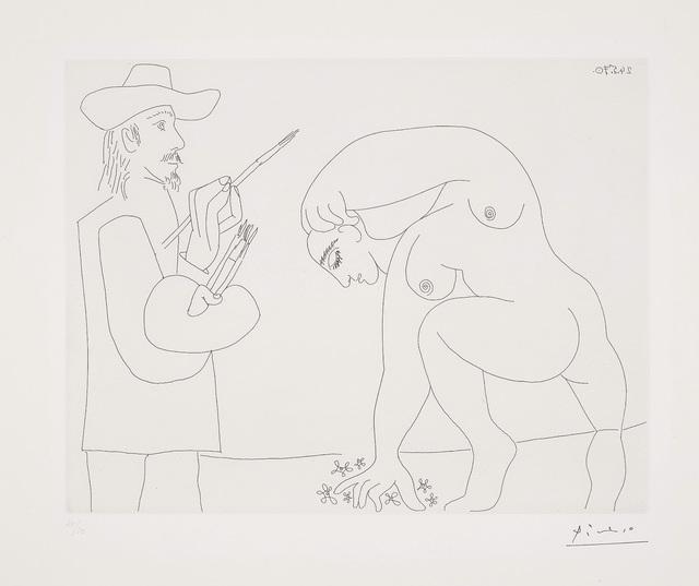 Pablo Picasso, 'Peintre et femme cueillant des fleurs (Painter and Woman Picking Flowers), plate 56 from Séries 156', 1970, Phillips