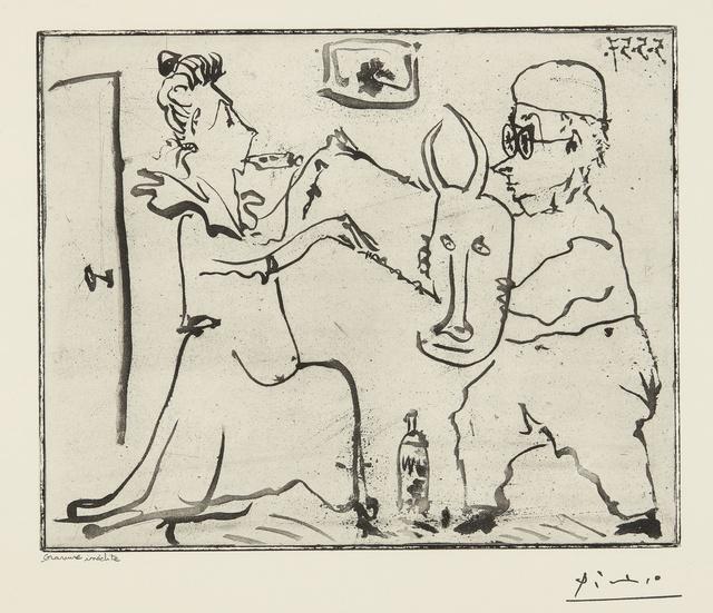 Pablo Picasso, 'Histoire de Sabartés et de sa voisine: Les Banderilles (Ba. 968)', 1957, Print, Sugar-lift aquatint with hand-biting, Sotheby's