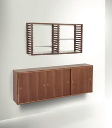 a bookcase with a wall shelf and a sideboard