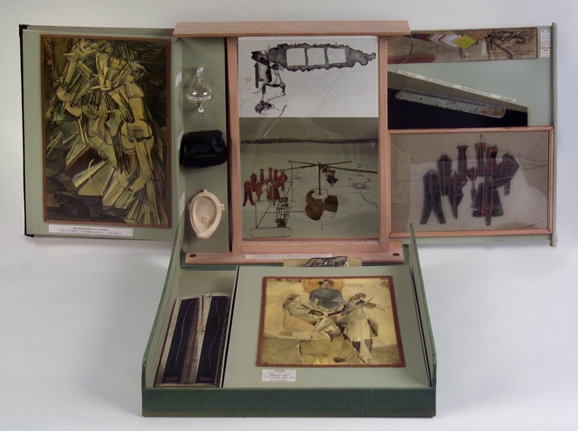 Marcel Duchamp, 'Boîte-Series D (based on Boîte-en-Valise, 1935– 41)', 1961, Mixed Media, Case covered in light-green linen, lining light-green Ingres paper, and sixty-eight items enclosed in box, Bowdoin College Museum of Art