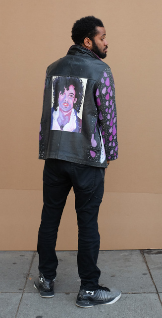 Joseph Green, 'Prince (Jacket)', 2018, Fashion Design and Wearable Art, Mixed media on leather jacket, modeled by artist Joseph Green, Creativity Explored