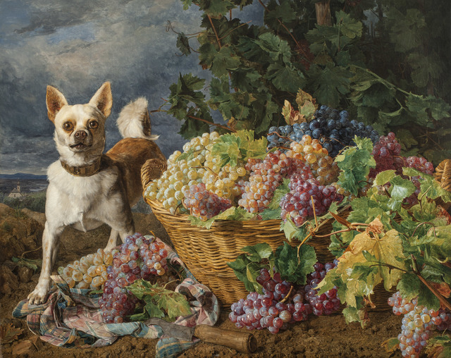 , 'Dog Guarding a Basket of Grapes with a View of Heiligenstadt and the Danube in the Distance,' 1836, Jack Kilgore & Co.