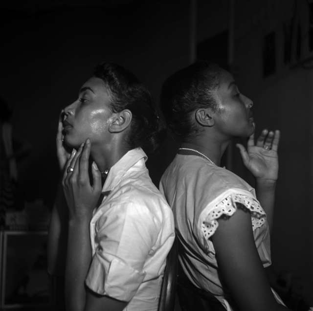 Eve Arnold, 'Two young models check their make-up backstage, Harlem ', 1950, Photography, Magnum Photos