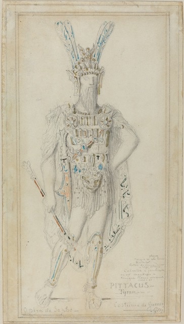 Gustave Moreau, 'Pittacus the Tyrant in War Costume', 1883, Drawing, Collage or other Work on Paper, Graphite with watercolor on wove paper, National Gallery of Art, Washington, D.C.