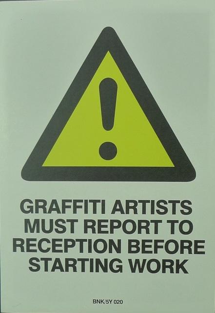 Banksy, 'Graffiti Artists Must Report To Reception Before Starting Work', Bengtsson Fine Art