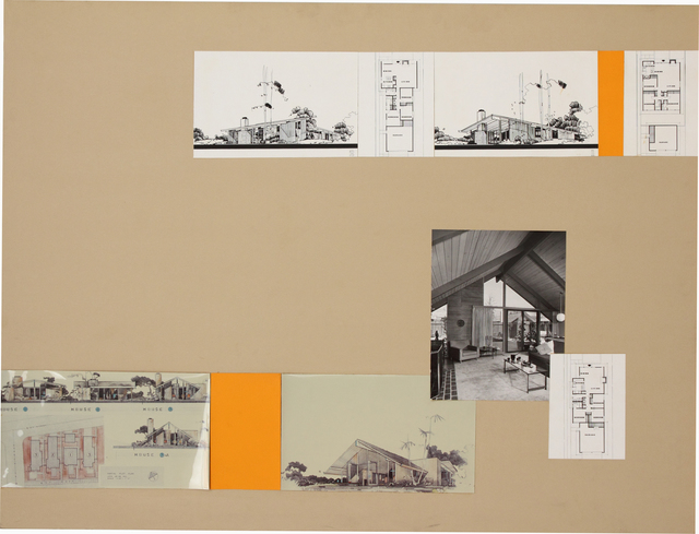 , 'Presentation panel with three prototypes of Eichler Homes, with vintage original photographs and reproductions of renderings,' ca. 1950, Edward Cella Art and Architecture