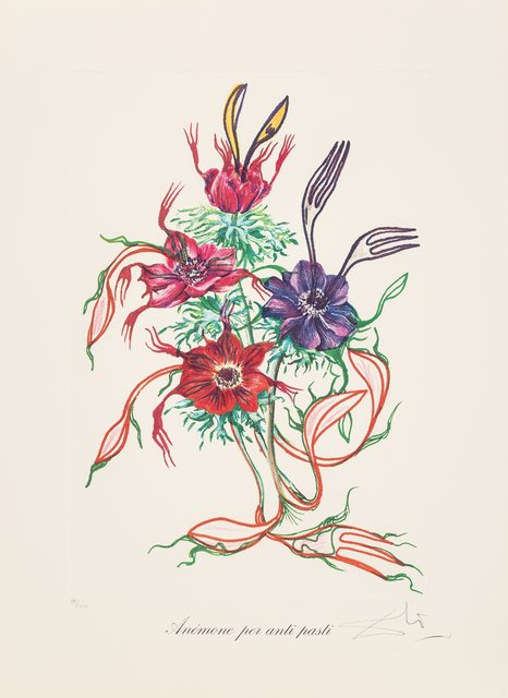 Salvador Dalí, 'Anenome per anti-pasti, from Florals', 1972, Print, Lithograph in colors on Arches paper, Heritage Auctions