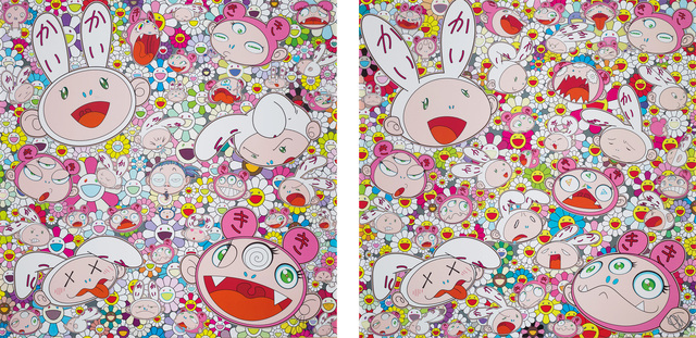 Takashi Murakami, 'You have all sorts of ups and downs in life. Right, Kaikai and Kiki?!; and There's bound to be difficult times There's bound to be sad times But we won't lose heart; we'd rather not cry, so laugh, we will!', 2017/18, Phillips