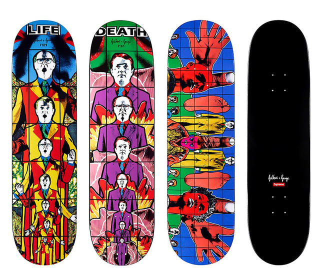 Gilbert and George, 'Supreme Gilbert & George skateboard decks: set of 3 (Gilbert & George pictures)', 2019, Lot 180
