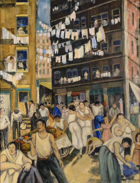 John R. Grabach, 'The Bustling City', ca. 1930, Painting, Oil on canvas, Graham Shay 1857
