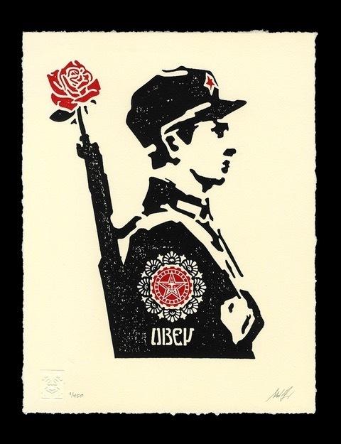 Shepard Fairey (OBEY), 'Obey rose soldier letterpress', 2017, Rudolf Budja Gallery