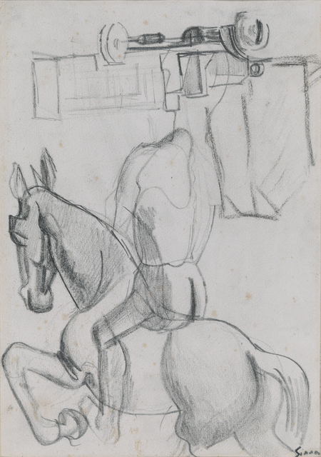 , 'Composition with horse and knight, truck and houses,' ca. 1920, Brun Fine Art