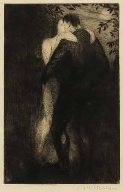 Christopher Richard Wynne Nevinson, 'Lovers (Black 62)', 1919, Print, Drypoint, on watermarked F. J. Head & Co. hand-made laid, Forum Auctions
