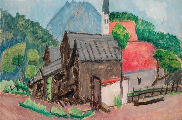 , 'Dörfliche Häusergruppe mit Kirchturm 'Village Houses with Steeple',' 1930, Galerie Thomas