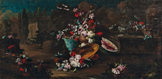 Sprays and Vases of Flowers in a Classical Landscape