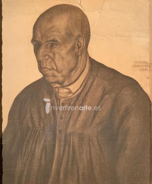 Wifredo Lam, 'Retrato de hombre vestido de oscuro', 1926, Invertirenarte.es