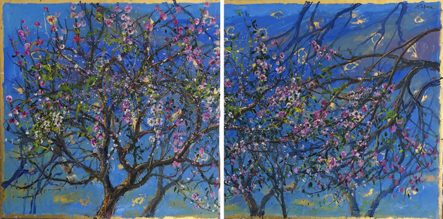 , 'Almond Blossoms, Azure Sky, Diptych,' 2017, Galerie d'Orsay