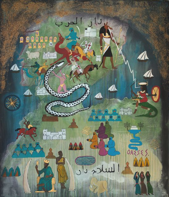 Umar Rashid (Frohawk Two Feathers), 'Map of the Moorish invasion of Hispania 711 CE. Or, the triumph of the Berbers over the Visigoths and the second historical cause of white flight.', 2017, Johannes Vogt Gallery