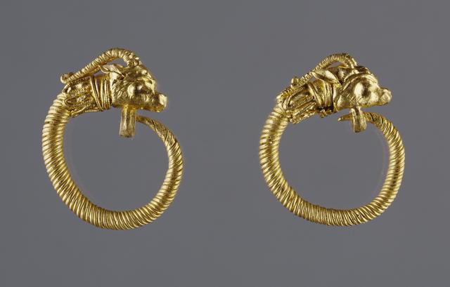 'Hoop Earrings with Antelope-head Finials', 220 -100 BCE, J. Paul Getty Museum