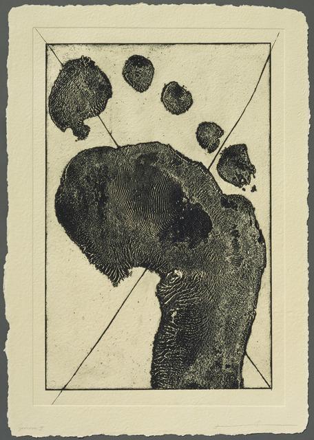 Jonathan Borofsky, 'Half Foot Etching with Black Cross (State)', 1992, Gemini G.E.L.