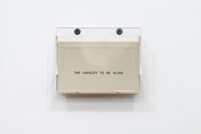 , 'The Capacity to Be Alone.,' 1990, mfc - michèle didier