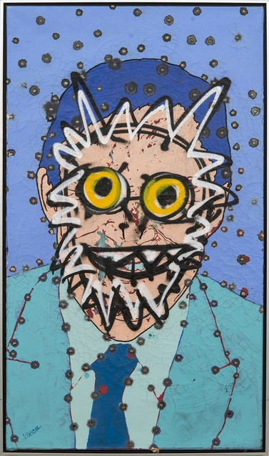 Viktor Mitic, 'Marc - graphic, portrait, pop-art style, cultural, acrylic painting on canvas', 2020, Painting, Acrylic Paint, Gold Leaf, Bullet Holes, Canvas, Oeno Gallery