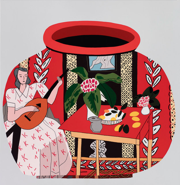 , 'Red Pot with Lute Player #2,' 2018, Gagosian