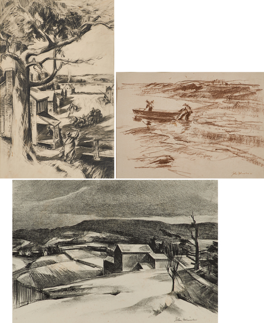 John Fulton Folinsbee, 'Three works of art: Early Town (Study for Commission at the Federal Building, Paducah, Kentucky); Digging for Bait; Bucks County Farm', Rago/Wright