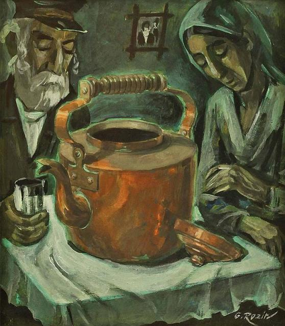 Galina Rozin, 'Old Couple with Samovar, Oil Painting', 20th Century, Painting, Oil Paint, Lions Gallery