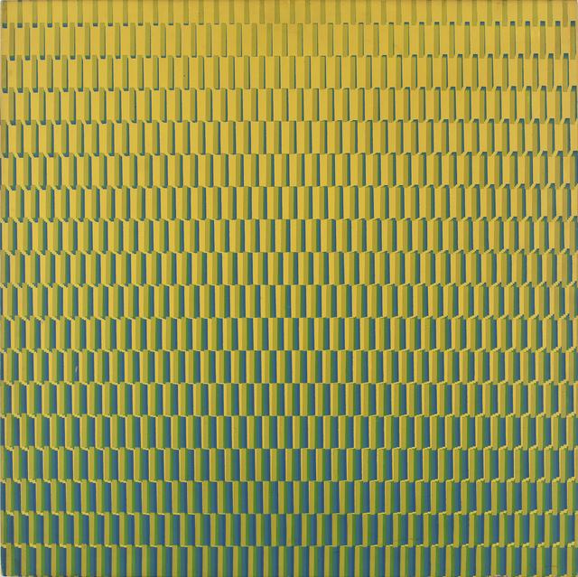 François Morellet, '4 Trames de tirets du jaune au bleu, pivotées sur um côté', 1970, Print, Serigrafia sobre madeira [screen printing on wood], Paulo Kuczynski Escritório de Arte
