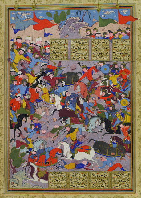 , 'Giv Charges into Battle against Piran, folio 185a from the Peck Shahnama,' 1589-1590, Princeton University Art Museum