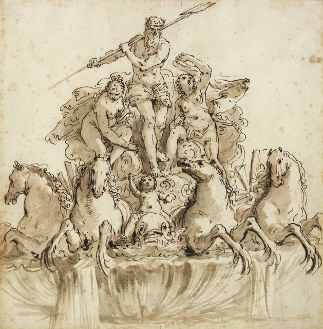 Francesco Salvator Fontebasso, 'Design for a fountain of Neptune in his chariot drawn by four hippocamps, flanked by nymphs and putti', Christie's Old Masters