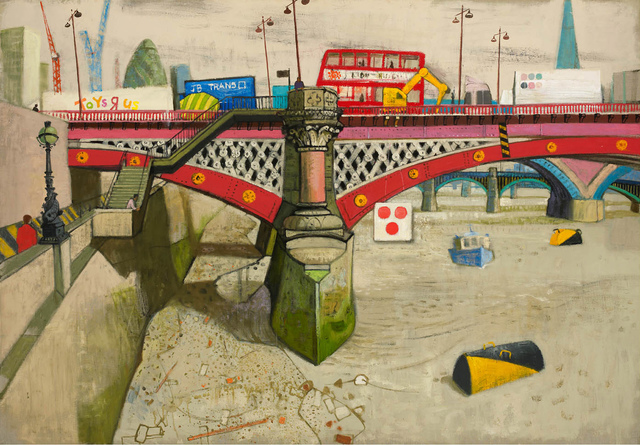 , 'Rush Hour with Lorries I, Blackfriars Bridge,' 2013, John Martin Gallery