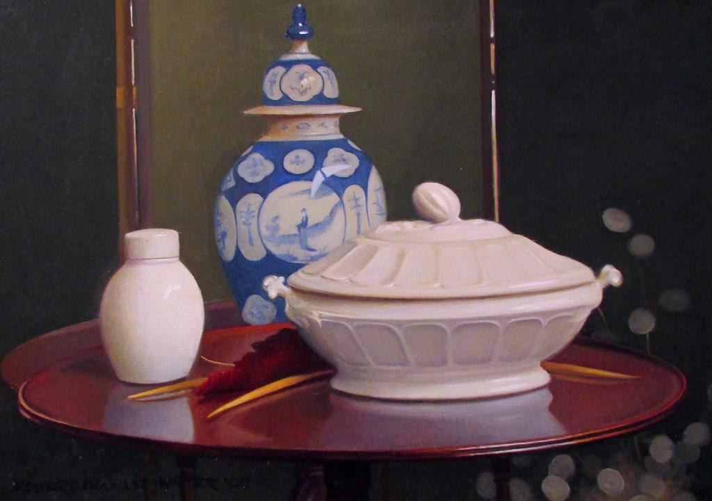 White Stoneware with a Ming Vase